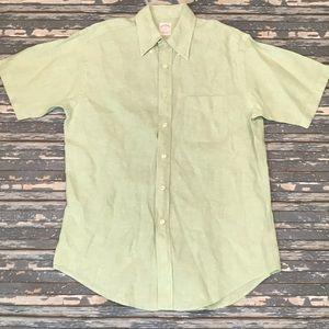 Brooks Brothers mens M green linen button up shirt